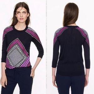 📌J.Crew Merino Tippi Embroidered Tile Sweater